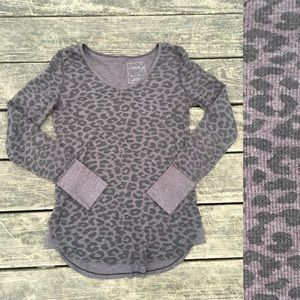 Free People - animal print long sleeve top